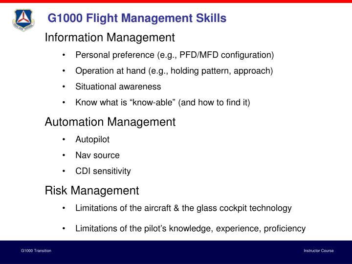 G1000 Flight Management Skills
