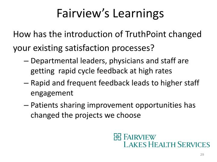 Fairview's Learnings