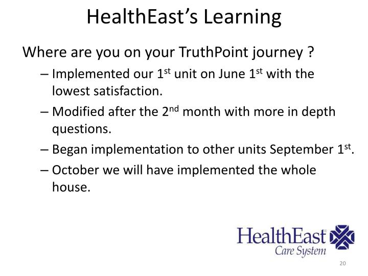 HealthEast's Learning
