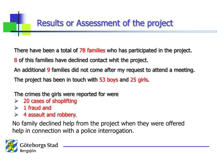Results or Assessment of the project