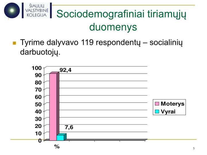 Sociodemografiniai tiriamųjų duomenys