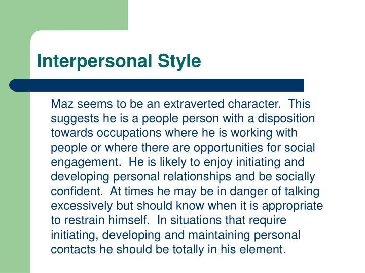 Interpersonal Style