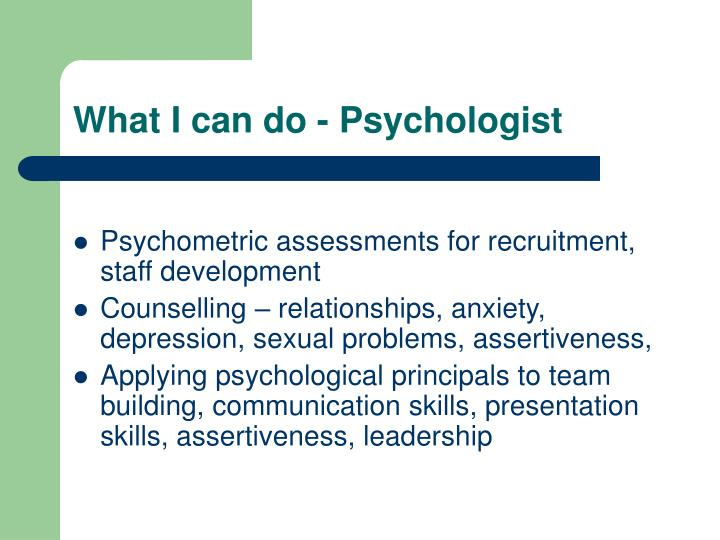 What I can do - Psychologist