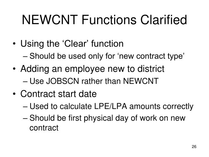 NEWCNT Functions Clarified