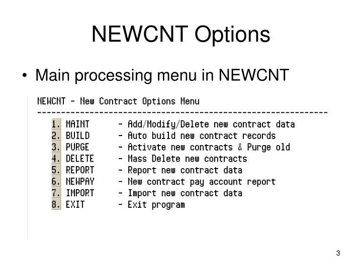 NEWCNT Options