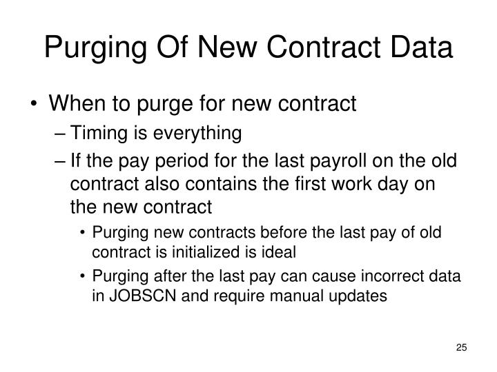 Purging Of New Contract Data