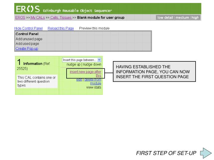HAVING ESTABLISHED THE INFORMATION PAGE, YOU CAN NOW INSERT THE FIRST QUESTION PAGE