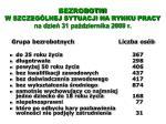 bezrobotni w szczeg lnej sytuacji na rynku pracy na dzie 31 pa dziernika 2009 r