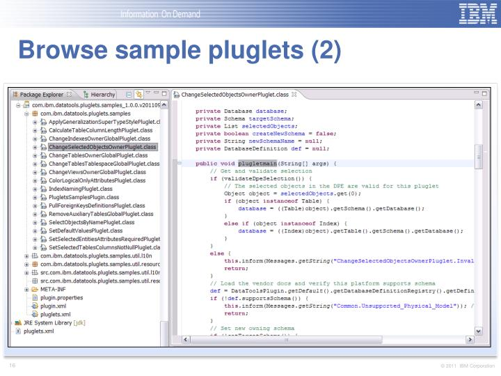 Browse sample pluglets (2)
