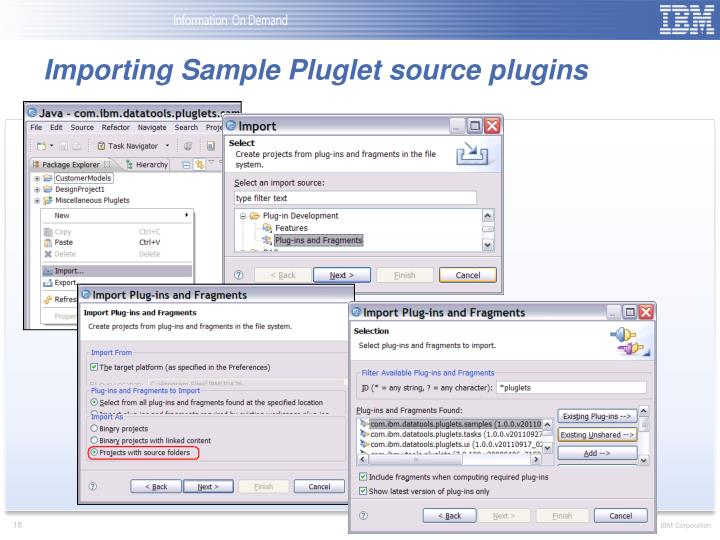 Importing Sample Pluglet source plugins