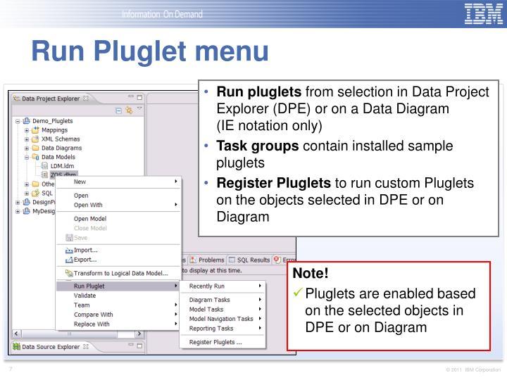 Run Pluglet menu