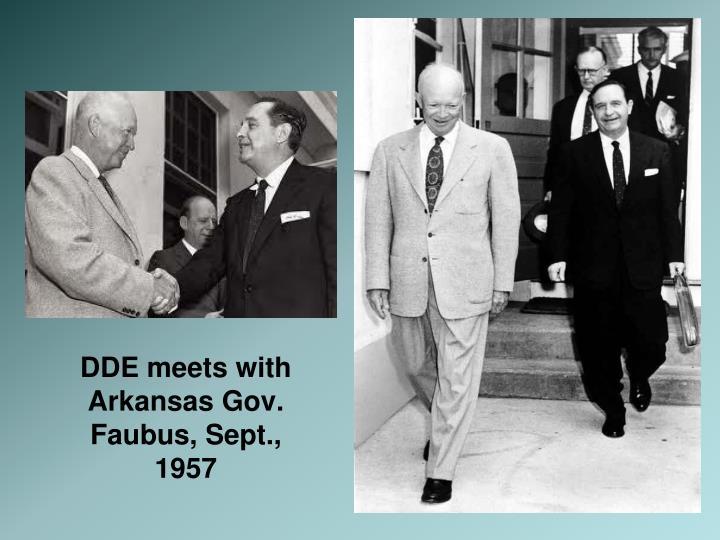 DDE meets with Arkansas Gov. Faubus, Sept., 1957
