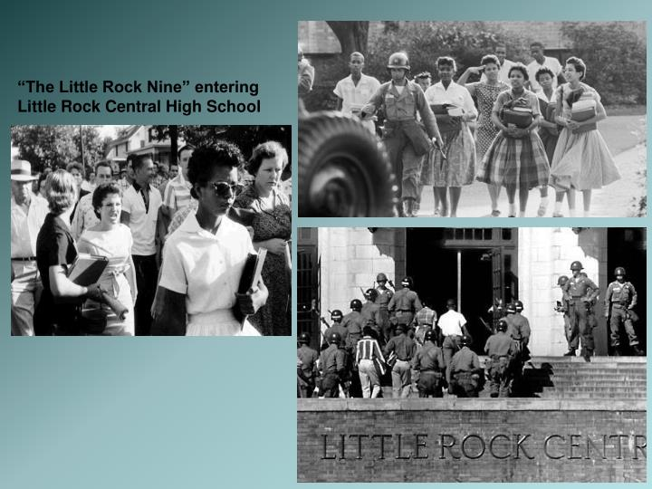 """The Little Rock Nine"" entering Little Rock Central High School"