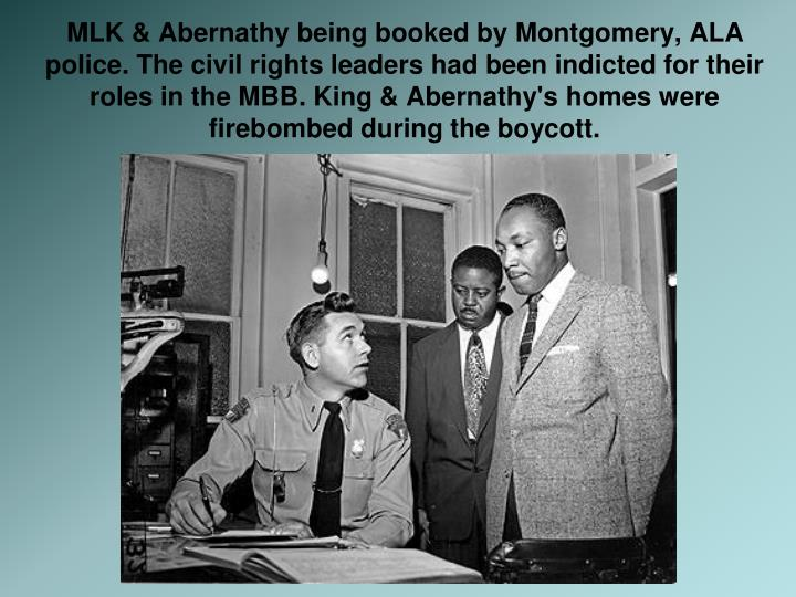 MLK & Abernathy being booked by Montgomery, ALA police. The civil rights leaders had been indicted for their roles in the MBB. King & Abernathy's homes were firebombed during the boycott.