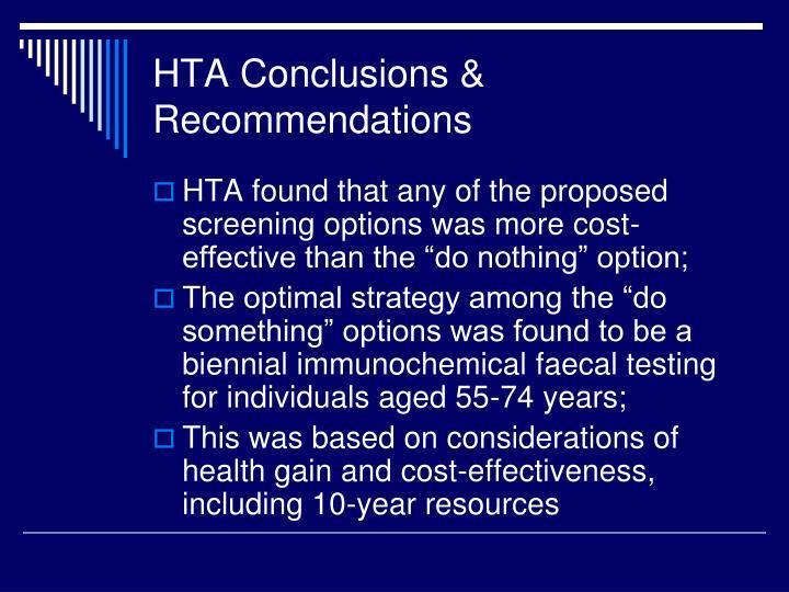 HTA Conclusions &