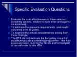 specific evaluation questions