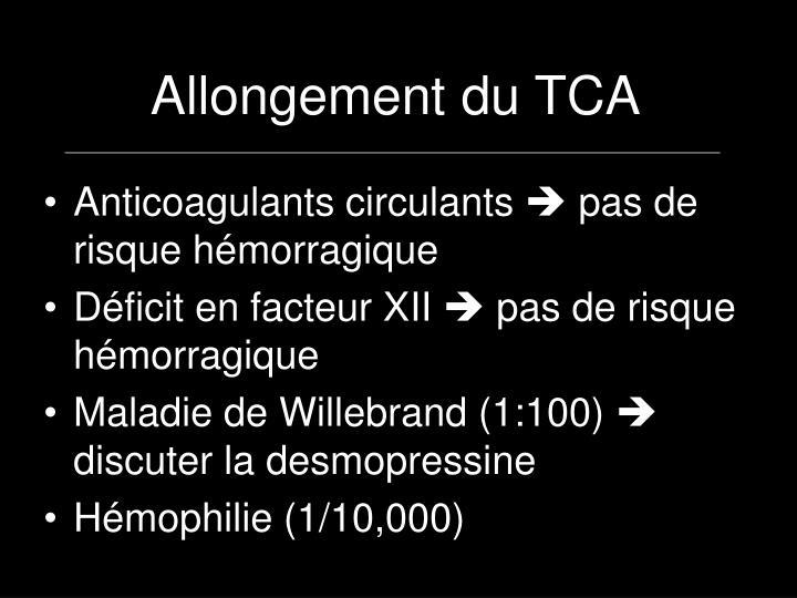 Allongement du TCA