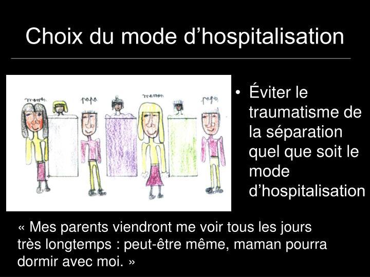 Choix du mode d'hospitalisation