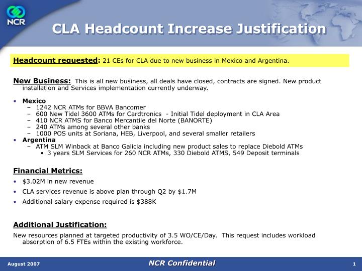 Cla headcount increase justification
