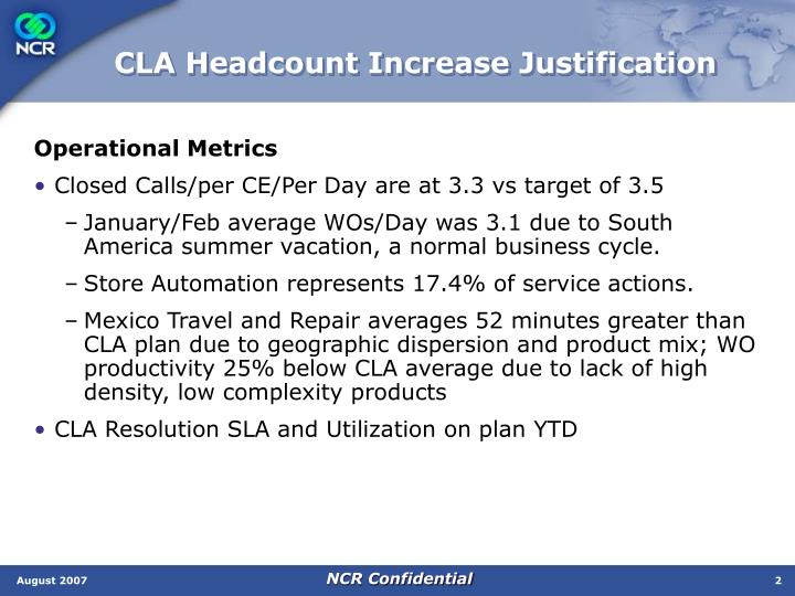 Cla headcount increase justification1