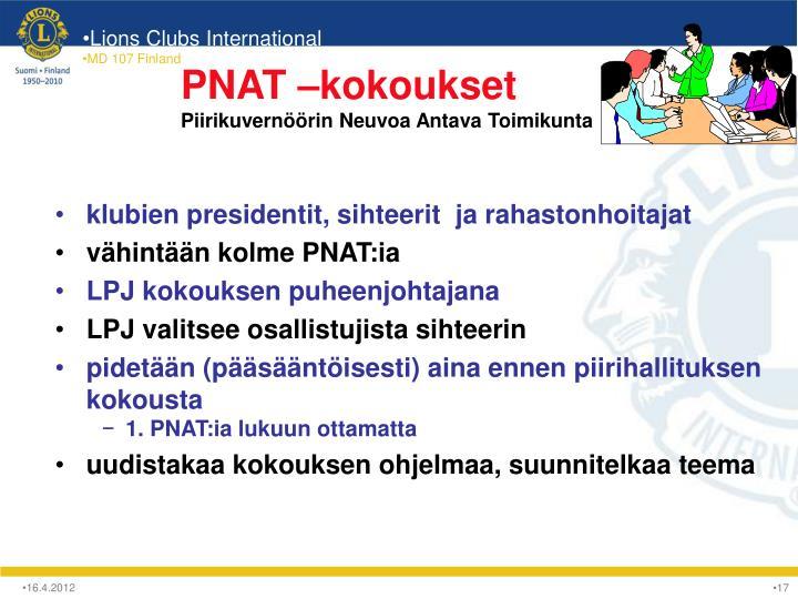 PNAT –kokoukset