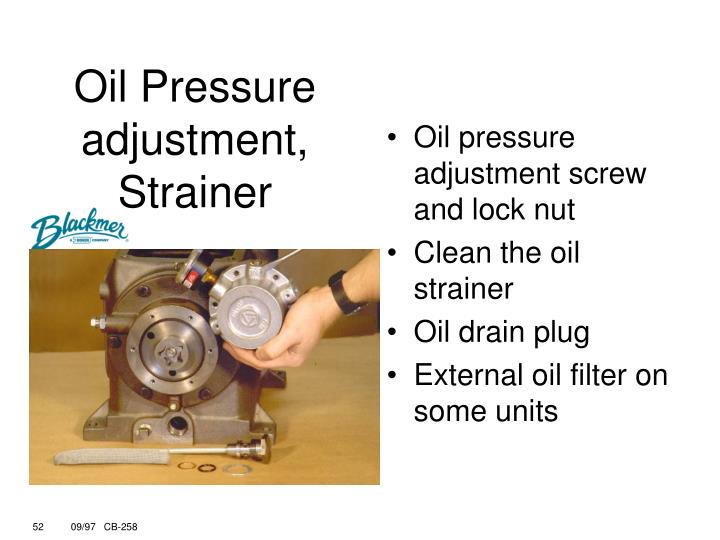 Oil pressure adjustment screw and lock nut