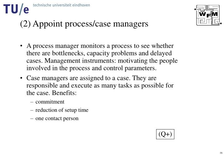 (2) Appoint process/case managers