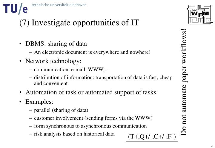 (7) Investigate opportunities of IT
