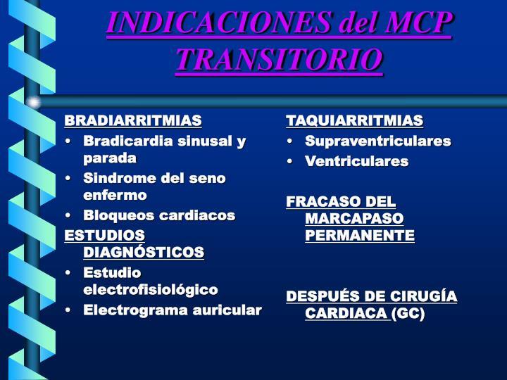 INDICACIONES del MCP TRANSITORIO