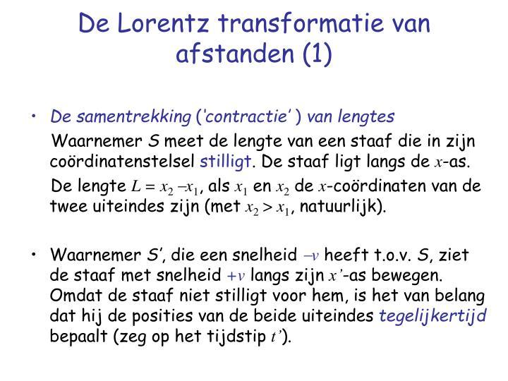 De Lorentz transformatie van afstanden (1)