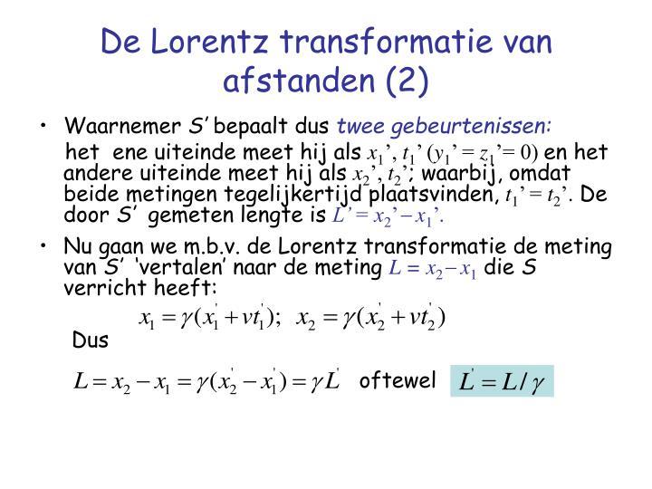 De Lorentz transformatie van afstanden (2)