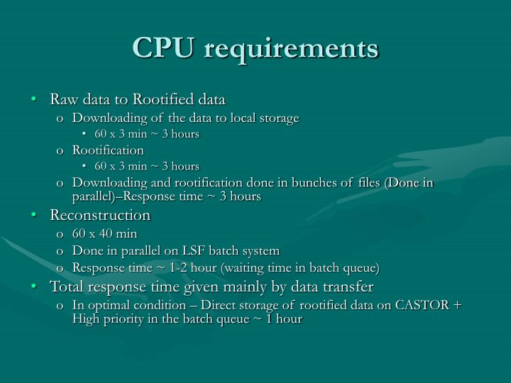 CPU requirements