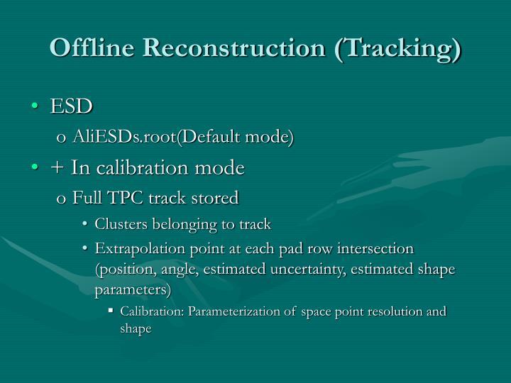 Offline Reconstruction (Tracking)