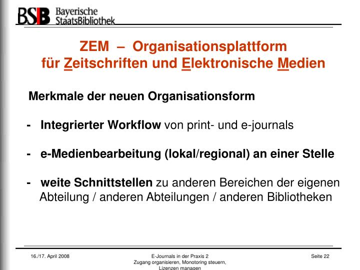 ZEM  –  Organisationsplattform
