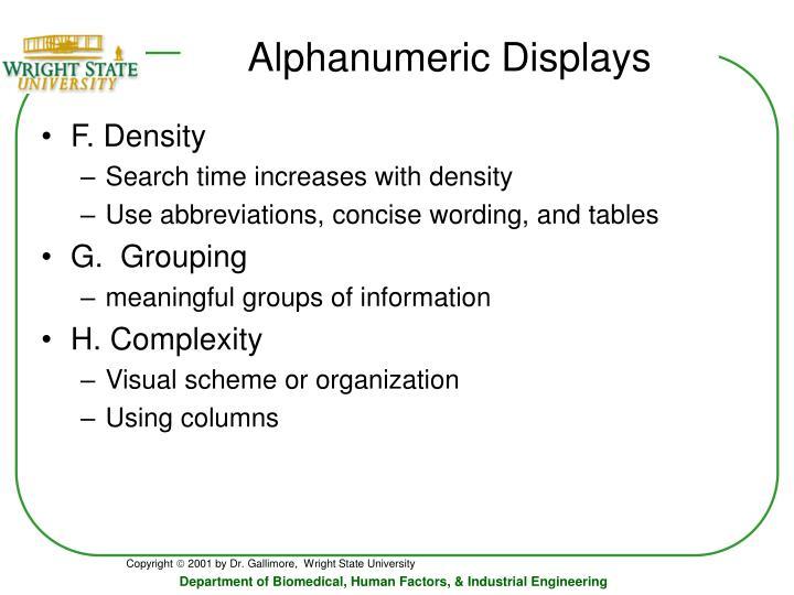 Alphanumeric Displays