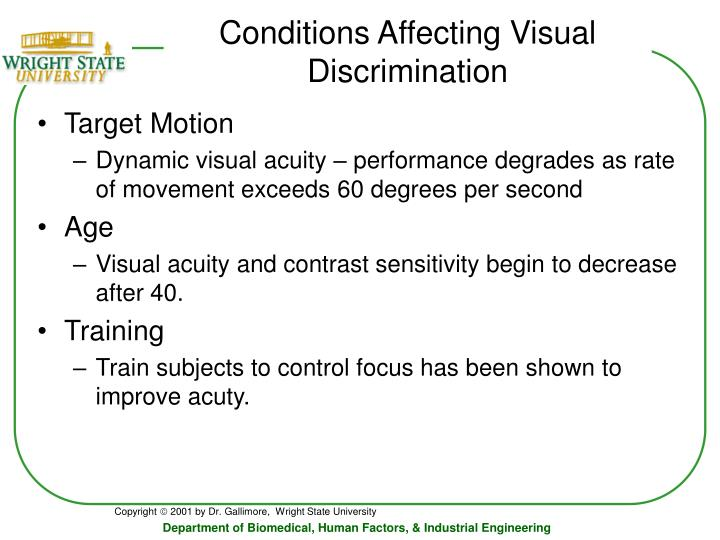 Conditions Affecting Visual Discrimination