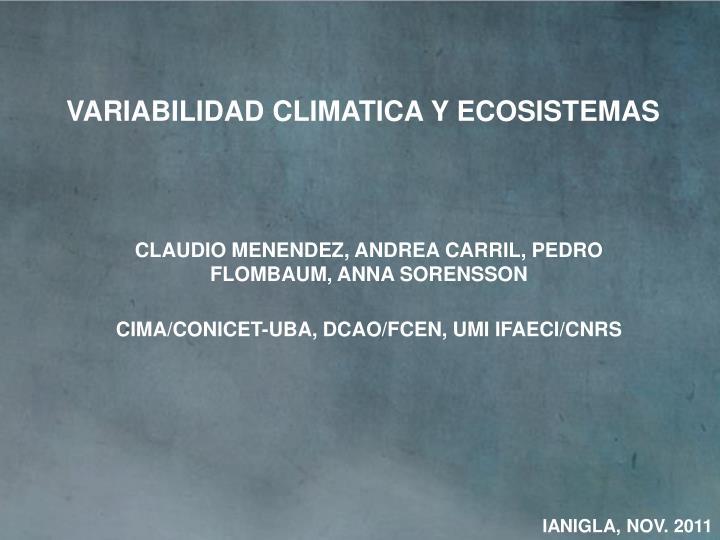 VARIABILIDAD CLIMATICA Y ECOSISTEMAS
