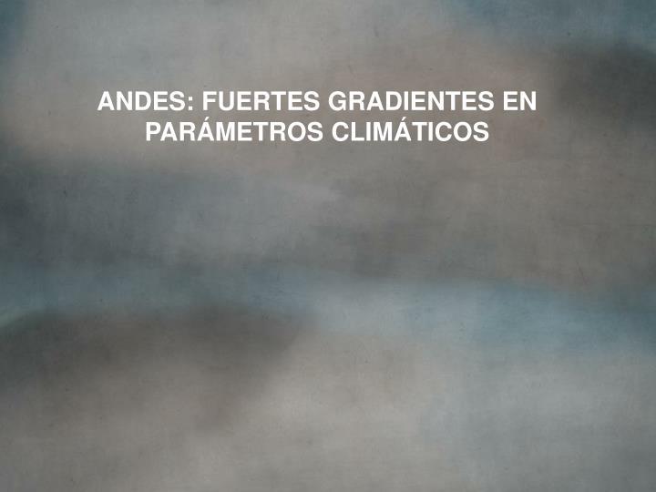 ANDES: FUERTES GRADIENTES EN PARÁMETROS CLIMÁTICOS