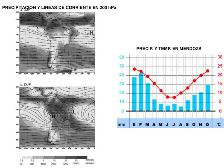 PRECIPITACION Y LINEAS DE CORRIENTE EN 200 hPa