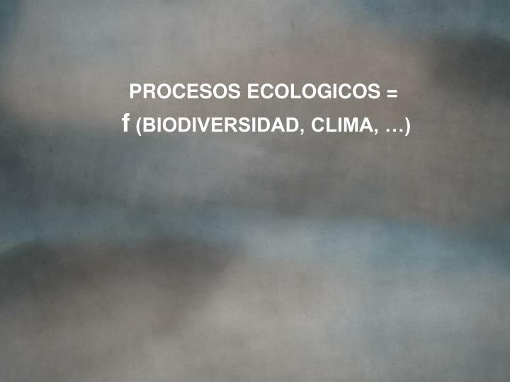PROCESOS ECOLOGICOS =