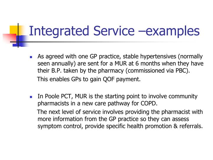 Integrated Service –examples