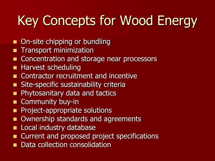 Key Concepts for Wood Energy