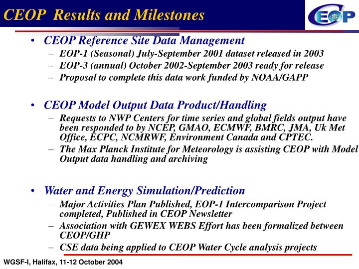 CEOP  Results and Milestones