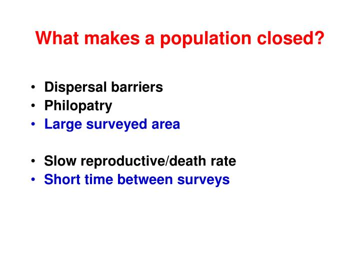 What makes a population closed?