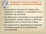 el papel de la memoria de trabajo en el pensamiento y comprensi n del lenguaje