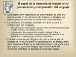 el papel de la memoria de trabajo en el pensamiento y comprensi n del lenguaje1