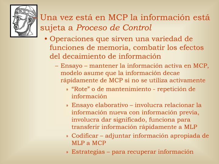 Una vez está en MCP la información está sujeta a