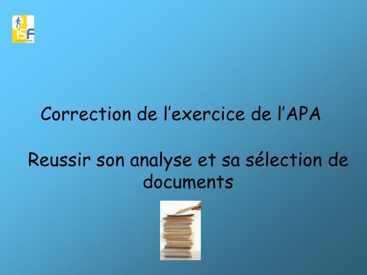 Correction de l'exercice de l'APA