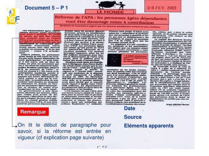 Document 5 – P 1