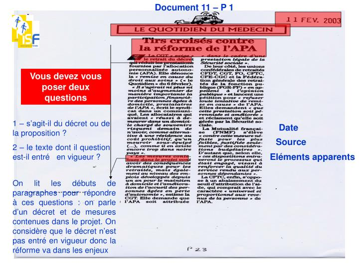 Document 11 – P 1